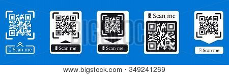 QR code scan for smartphone. Inscription scan me with smartphone icon. Qr code for payment. Inscription scan me with smartphone icon. Qr code for payment. Scan QR code. Vector collection stock photo