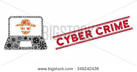 Biohazard mosaic cyber crime icon and red Cyber Crime stamp between double parallel lines. Mosaic vector is created with cyber crime icon and with scattered microbe cell items. stock photo