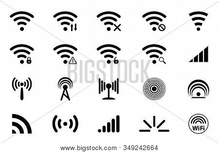 Set of Signal icons. Network signal or Internet Icon. Wireless technology icons. WIFI icons. Wifi signal strength. Radio signals waves and light rays, radar, wifi, antenna and satellite signal symbols stock photo
