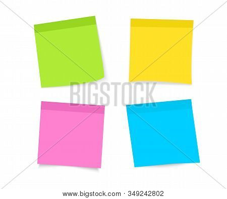 Post note sticker. Paper sticky note piece. Set of multi-colored stickers. Sticky notes paper. Collection of different colored sheets of note papers with curled corner. Ready for your message stock photo
