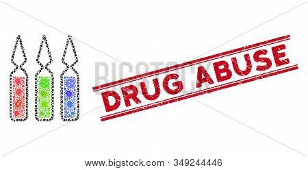 Outbreak mosaic ampoules icon and red Drug Abuse seal stamp between double parallel lines. Mosaic vector is created with ampoules icon and with scattered amoeba symbols. stock photo