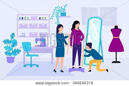 Sewing Studio Concept. Process of Designing and Making Clothes. Dressmakers Are Measuring Girl s Clothes Size. Clothing Designer or Tailor Working at Atelier. Cartoon Flat Style. Vector Illustration stock photo