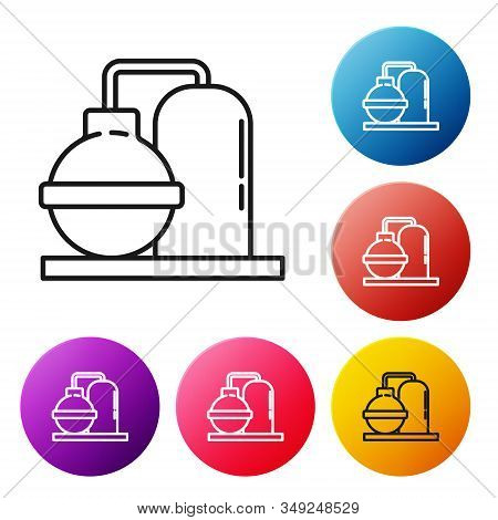 Black line Oil and gas industrial factory building icon isolated on white background. Set icons colorful circle buttons. Vector Illustration stock photo