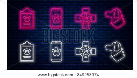 Set line Online veterinary clinic symbol, Veterinary clinic symbol, Clipboard with medical clinical record pet and Dog. Glowing neon icon on brick wall. Vector stock photo
