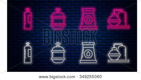 Set line Propane gas tank, Oil and gas industrial factory building, Industrial gas cylinder tank and Oil and gas industrial factory building. Glowing neon icon on brick wall. Vector stock photo