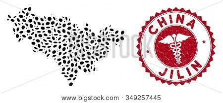 Vector collage Jilin Province map and red round distressed stamp watermark with medicine symbol. Jilin Province map collage created with elliptic elements. Red round medic watermark, stock photo
