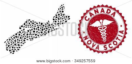 Vector mosaic Nova Scotia Province map and red round grunge stamp watermark with clinic sign. Nova Scotia Province map collage created with oval spots. Red round clinic watermark, stock photo