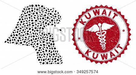 Vector collage Kuwait map and red round grunge stamp watermark with medical symbol. Kuwait map collage constructed with elliptic spots. Red round medicine watermark, with grunge texture. stock photo