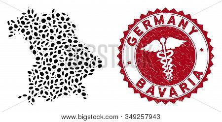 Vector collage Bavaria Land map and red rounded grunge stamp watermark with caduceus icon. Bavaria Land map collage formed with oval elements. Red rounded health care watermark, with unclean texture. stock photo
