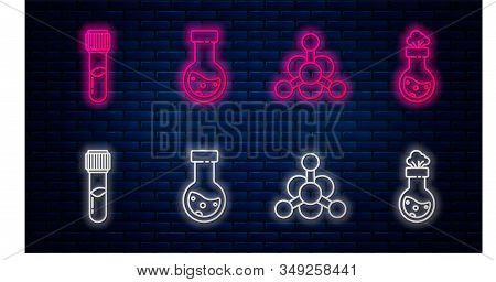 Set line Test tube and flask chemical, Bacteria, Test tube and flask chemical and Test tube and flask chemical. Glowing neon icon on brick wall. Vector stock photo