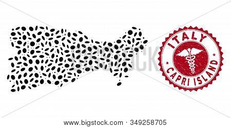 Vector collage Capri Island map and red round distressed stamp watermark with medicine symbol. Capri Island map collage created with ellipse spots. Red rounded medical watermark, with grunge texture. stock photo