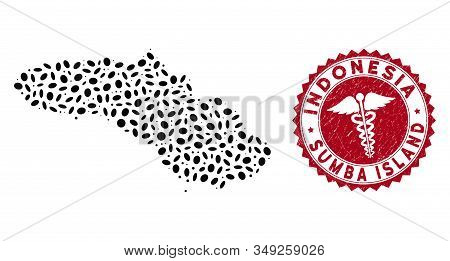 Vector mosaic Sumba Island map and red rounded corroded stamp watermark with medic symbol. Sumba Island map collage formed with elliptic spots. Red rounded health care watermark, with unclean texture. stock photo