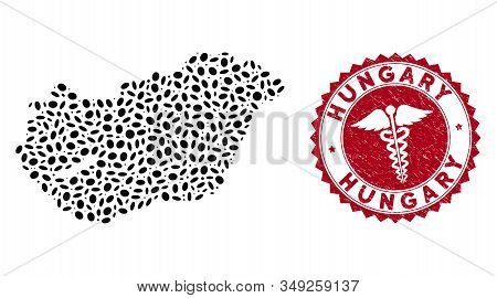 Vector collage Hungary map and red rounded grunge stamp watermark with medic icon. Hungary map collage composed with elliptic elements. Red rounded medic watermark, with unclean texture. stock photo