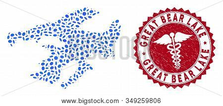 Vector mosaic Great Bear Lake map and red rounded grunge stamp watermark with caduceus symbol. Great Bear Lake map collage constructed with oval spots. Red rounded health care watermark, stock photo