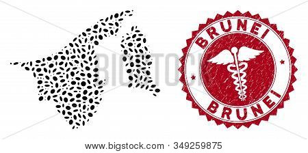 Vector collage Brunei map and red round corroded stamp watermark with healthcare symbol. Brunei map collage created with ellipse items. Red round medic watermark, with dirty texture. stock photo