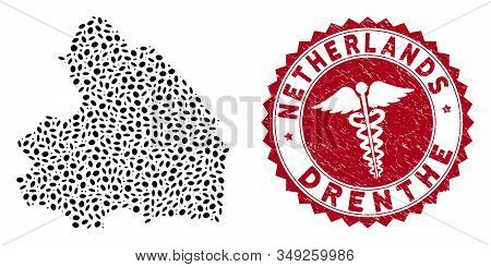 Vector collage Drenthe Province map and red rounded corroded stamp watermark with serpents symbol. Drenthe Province map collage created with ellipse spots. Red rounded healthcare watermark, stock photo
