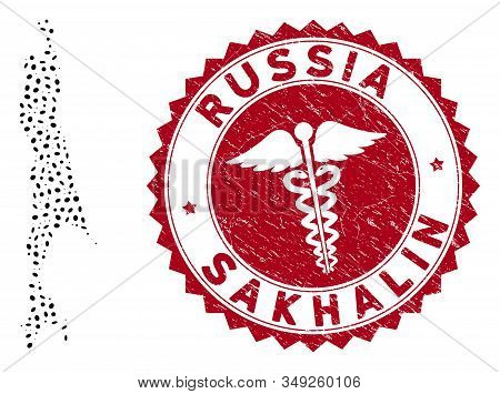 Vector collage Sakhalin Island map and red rounded grunge stamp watermark with medicine icon. Sakhalin Island map collage composed with ellipse elements. Red rounded healthcare watermark, stock photo
