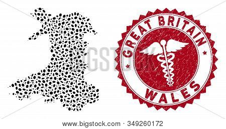 Vector mosaic Wales map and red round rubber stamp watermark with medical symbol. Wales map collage composed with oval elements. Red rounded medicine watermark, with dirty texture. stock photo