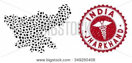 Vector mosaic Jharkhand State map and red round distressed stamp watermark with doctor icon. Jharkhand State map collage constructed with elliptic elements. Red round health care watermark, stock photo