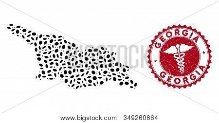 Vector collage Georgia map and red rounded distressed stamp watermark with caduceus icon. Georgia map collage composed with oval elements. Red rounded caduceus watermark, with unclean texture. stock photo