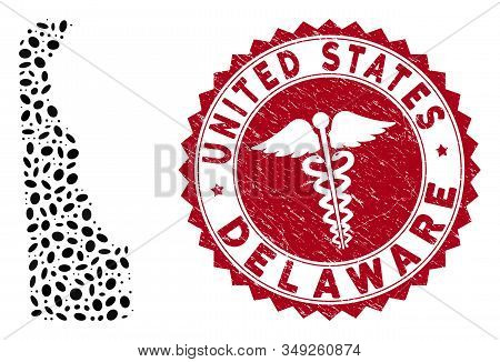 Vector mosaic Delaware State map and red round distressed stamp watermark with medicine icon. Delaware State map collage designed with ellipse elements. Red round medicine watermark, stock photo