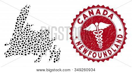 Vector collage Newfoundland Island map and red rounded grunge stamp watermark with doctor sign. Newfoundland Island map collage created with elliptic elements. Red rounded medicine watermark, stock photo