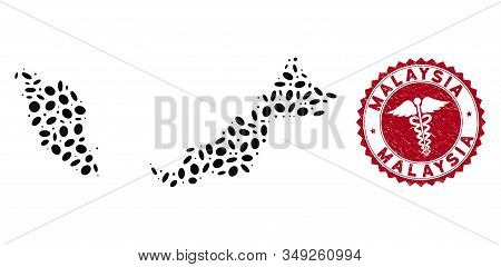 Vector collage Malaysia map and red rounded grunge stamp watermark with health care symbol. Malaysia map collage designed with oval items. Red rounded caduceus watermark, with distress texture. stock photo