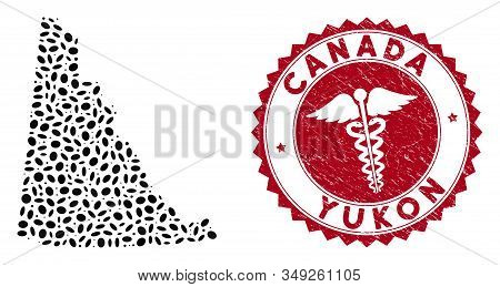 Vector mosaic Yukon Province map and red round grunge stamp watermark with serpents symbol. Yukon Province map collage created with elliptic spots. Red round medicine watermark, with grunge texture. stock photo