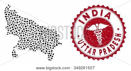 Vector collage Uttar Pradesh State map and red round rubber stamp watermark with health care icon. Uttar Pradesh State map collage designed with ellipse items. Red rounded doctor watermark, stock photo