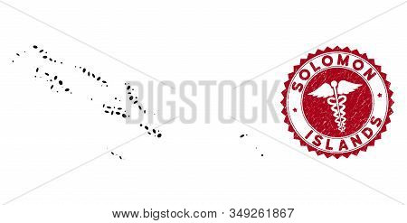 Vector collage Solomon Islands map and red round corroded stamp watermark with medicine icon. Solomon Islands map collage formed with oval elements. Red round healthcare watermark, with dirty texture. stock photo