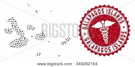 Vector collage Galapagos Islands map and red rounded rubber stamp watermark with healthcare symbol. Galapagos Islands map collage constructed with elliptic spots. Red rounded healthcare watermark, stock photo