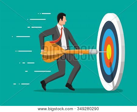 Businessman aim arrow to target. Goal setting. Smart goal. Business target concept. Achievement and success. Vector illustration in flat style stock photo