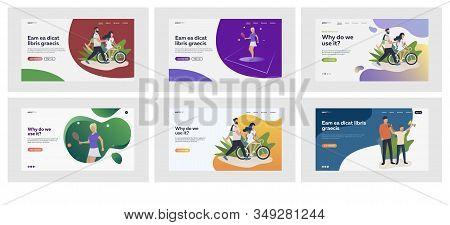 Set of couple riding bicycles together. Flat vector illustrations of people playing tennis and American football. Sport and leisure activities concept for banner, website design or landing web page stock photo