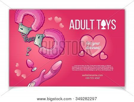 Adult toys and accessories for sexual role play cartoon banner or poster with pink, fluffy handcuff with key, vibrator or dildo and butt plug illustration. Sex shop new assortment advertising stock photo