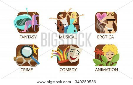 Cinema Genres Set, Crime, Fantasy, Musical, Erotica, Crime, Comedy, Animation, Cinematography, Movie Production Sign Vector Illustration stock photo