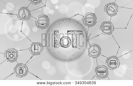 Internet of things icon innovation technology concept. Smart city wireless communication network IOT ICT. Home intelligent system automation Industry 4.0 modern AI computer online vector illustration stock photo