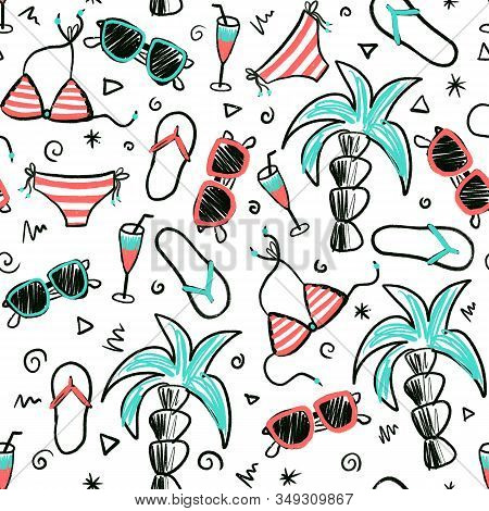 Beach summer seamless doodle pattern. Hand drawn cartoon style background with palm trees, sunglasses, bikini, flip flops, cocktail. Use for fabric, surface pattern design, beach wear stock photo