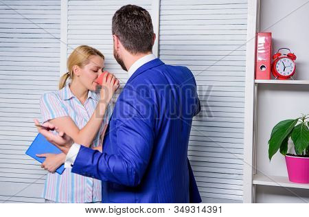 man want woman stop messing around. office life. ceo director and employee. businessman gives directions to assistant. girl drink coffee at workplace. love affair at work. business harassment stock photo