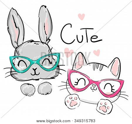 Cats and rabbit with glasses. Vector illustration. Sketch print design beautiful animal for baby t-shirt, background, textile. For newborns design elements. stock photo