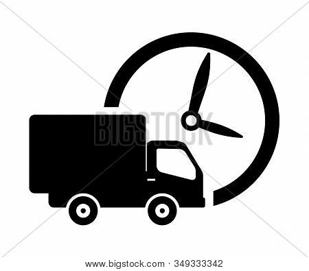 Delivery truck clock. Delivery time symbol, logo illustration. Delivery van,time symbol. On time delivery. Vector illustration for your web mobile logo app UI design. stock photo