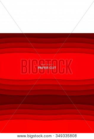 3d vector Paper cut art, abstract vertical banner.  Made with red color tints. For your flyer, poster, brochure, business presentation and more stock photo