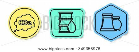 Set line CO2 emissions in cloud, Barrel oil and Oil and gas industrial factory building. Colored shapes. Vector stock photo