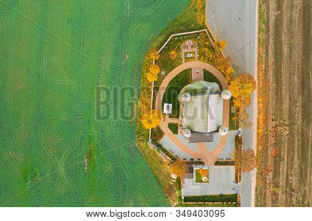 Synkavichy, Zelva District, Hrodna Province, Belarus. Aerial Birds-eye View Church Of St. Michael Archangel. Eastern Orthodox Church. Belarusian Gothic Fortified Church. Famous Landmark And Heritage. stock photo