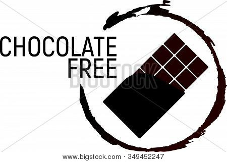 Chocolate Free. Allergen food, GMO free products icon and logo. Intolerance and allergy food. Concept cartoon vector illustration and isolated art. stock photo