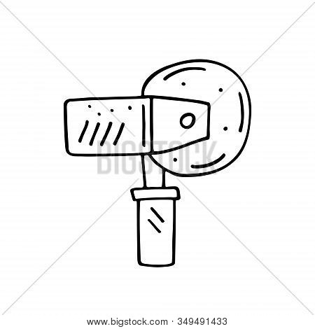 Saw, circular saw, knife, blade instrument cartoon cute hand drawn doodle vector illustration, element, sticker, icon. Black monochrome design. Isolated on white background. Easy to change color. stock photo