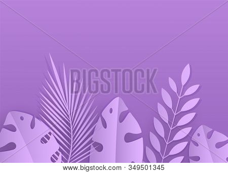 Abstract background. Lilac summer background. Tropical plants on a lilac background. Minimalism, modern background . Abstract close-up background of tropical Monstera leaf in trendy pink and purple colors or shades. Background texture vector stock photo
