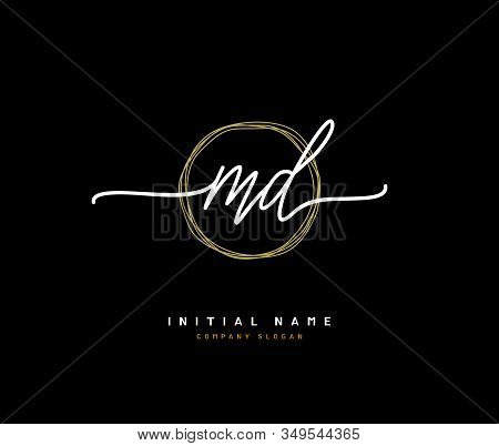 M D MD Beauty vector initial logo, handwriting logo of initial signature, wedding, fashion, jewerly, boutique, floral and botanical with creative template for any company or business. stock photo