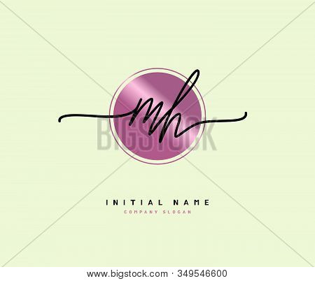 M H MH Beauty vector initial logo, handwriting logo of initial signature, wedding, fashion, jewerly, boutique, floral and botanical with creative template for any company or business. stock photo