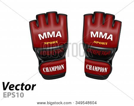MMA gloves in vector.Leather gloves for mixed martial arts vector illustration. stock photo