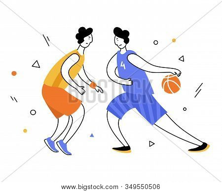 Basketball player with ball. Adult man cartoon action character. Flat vector isolated illustration. Men basketball championship poster, banner design stock photo
